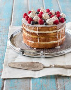 Cream & Lemon Curd Layered Sponge Cake with Berries & Meringue. #food #cakes #desserts #mothers_day