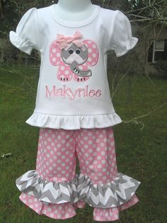 Elephant Double Ruffle Pant Set by juliesonny on Etsy, $45.00