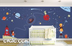 Space Wall Decals with Astronauts and Spaceship – evgie