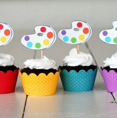 art party, happy birthdays, art parti, summer parties, party cupcakes, party stuff, parti idea, artist party, cupcake toppers