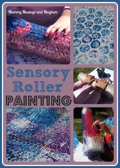 DIY Sensory Bubblewrap Roller Painting - Tips to modify for SPD tactile sensitive children included in the blog post.