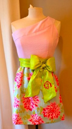 Pink & Green One-Shoulder Dress with Monogrammed Bow
