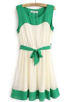 Green Beige Sleeveless Hollow Belt Chiffon Dress