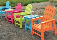Each chair cost five bucks and took 30 min to make! Shows you how to build a set of bunk beds, tables, etc. EASY to do. adirondack chairs, 30 min, color, bunk beds, homemade furniture, patio, diy outdoor chair, backyard, ana white