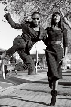 Tinie Tempah & Naomi Campbell - Bruce Weber -  September 2014 issue