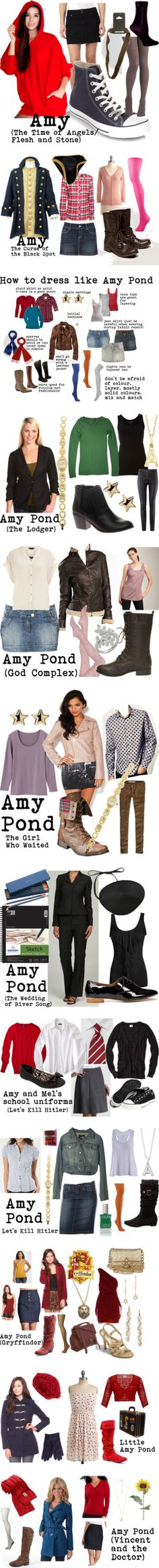 """""""Amy Pond"""" by doctorwhodressing ❤ liked on Polyvore.      I WANT THESE OUTFITS! YOU DON'T EVEN UNDERSTAND HOW BADLY I WANT THEM!"""