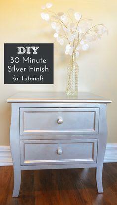 DIY Silver Spray Paint Furniture Finish