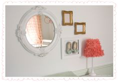 Vintage Inspired Nursery with Framed vintage baby shoes