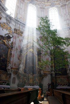 Inside Ettal Abbey in Bavaria, Germany
