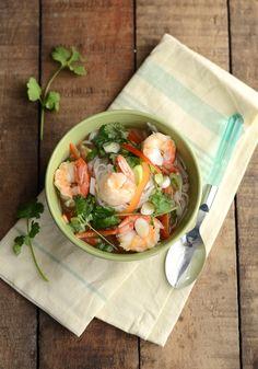 Hot & Sour Noodle Soup with Shrimp.