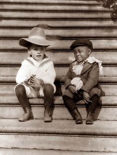 "Quentin Roosevelt, youngest son of Theodore Roosevelt, and one of his ""White House Gang"" playmates, Roswell Pinckney, 1902. Pinckney was the son of a White House steward. The ""White House Gang"" were known for their mischievous childhood pranks. Quentin Roosevelt later joined the Army Air Service and was killed during combat in WWI."