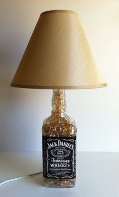 Give dad this upcycled Jack Daniel's Bottle Lamp, great for his office or man cave! #betteringlass Jack Daniel