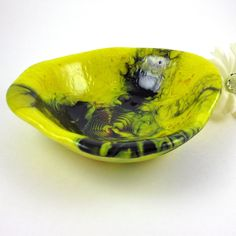 Fused Glass Bowl Yellow and Black Pot Melt Dish Free Formed Shape