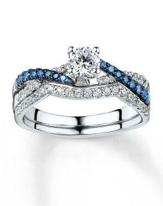bridal - Blue Diamond Wedding Ring Sets
