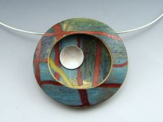 Landscape #2.  Polymer clay and sterling by Stonehouse Studio