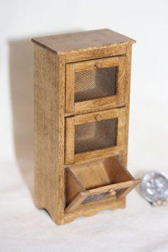 Miniature Dollhouse Artisan Country Bread/Vegetable Bin Cabinet Wood & Wire 1:12