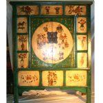 Antique Asian Chinese Furniture, Large Cabinet,  2 DoorTall Green Cabinet