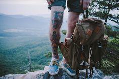 van, mountain, fox, clock, leg tattoos, backpack, tattoo photography, feather, ink