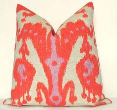 orange ikat pillow - 17x17 in