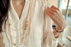 Lace and pearls.
