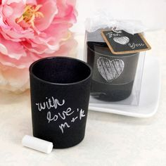 Blackboard Design Candle Favor with Chalk by Beau-coup