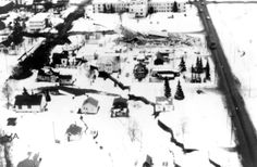 Aerial photographs of destructive land-slides and damage in Anchorage Graben at head of L Street landslide. Photo by A. Grantz. Anchorage di...
