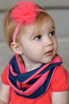 Baby Infinity Scarf Coral and Navy Infinity Scarf by findandkeepshop