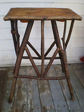 Antique Adirondack Bentwood Twig Side Table Stand (t)