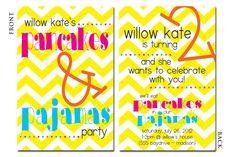 Pancakes & Pajamas Party Birthday Invitation