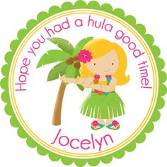 Luau Party Girl design.  Personalized stickers by partyINK.