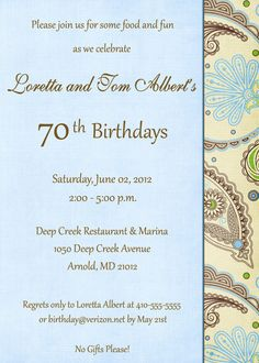 5x7 70th Birthday Invitation (may be altered for any milestone birthday) by AnnouncementsPlus, $15.00