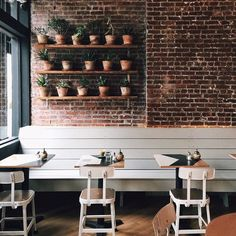 Brooklyn cafe with live plants and exposed brick