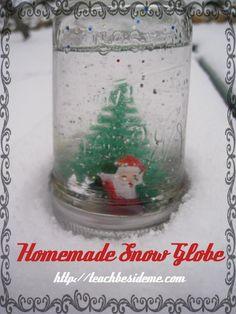 Homemade Christmas Snow Globe from Teach Beside Me
