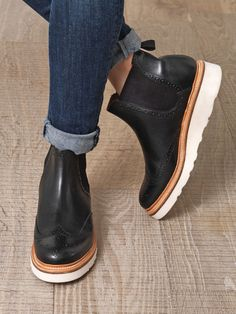 Trendy girl work boots.