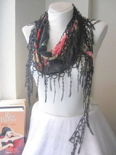 Traditional Turkish Fabric Fringed Black Guipure Scarf-Gift