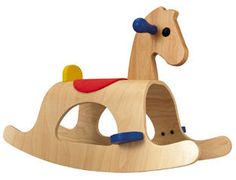sculptural rocking horse with simple three colors