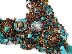 Beadwork necklace Seed beaded jewelry beaded art by ibics on Etsy, $352.00