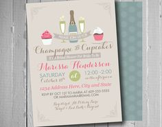 Champagne and Cupcakes Bridal Shower Theme   Shower Invitation   Bridal Shower Ideas