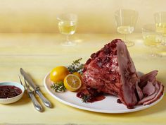 Baked Ham With Spiced Cherry Glaze Recipe : Melissa d'Arabian : Food Network - FoodNetwork.com