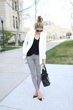 gray pants, white blazer, messy bun