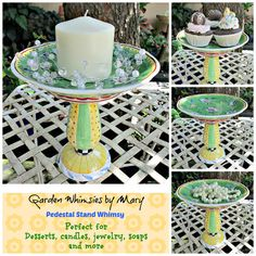 Floral Dessert Pedestal Stand / by GardenWhimsiesByMary on Etsy, $20.00