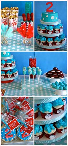 Love this cake idea smash cake on top and then cupcakes this site has cute ideas for dr Suess bday party
