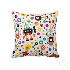 robots, pillow 6495, fun robot, throw pillows, robot throw