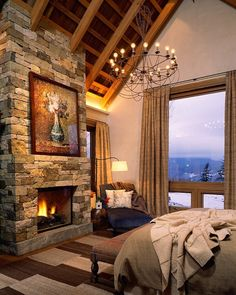 100's of Indoor Fireplace Ideas. Thanks To NJ Estates Real Estate Group  http://www.njestates.net/ interior design, rustic bedrooms, mountain, fireplace design, rustic design, country bedroom, master bedrooms, stone fireplaces, bedroom designs