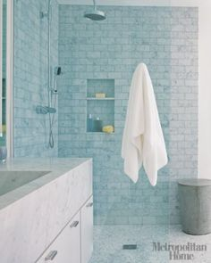 tile shower with built in nooks