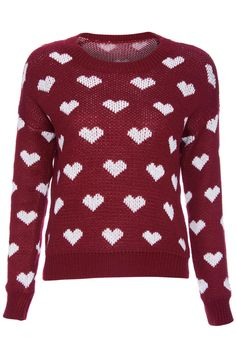 ROMWE | ROMWE Knitted White Heart Long-sleeved Burgundy Jumper, The Latest Street Fashion