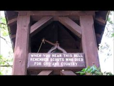 The Memorial Bell is rung daily during the summer camp season and campers pause to remember Scouts who died for God and country. On the Orange Trail at Camp #Yawgoog in Rockville, Hopkinton, Rhode Island (RI). Recorded on July 27, 2013, by David R. Brierley. #MemorialDay