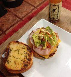 egg sandwich and hot sauce