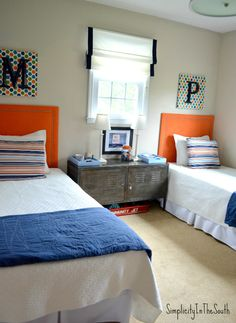 Boy's orange and blue shared bedroom by Simplicity In The South. ...Some very fun storage ideas and DIY projects in here!