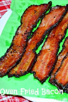 Oven Fried Bacon-Recipe  - This is the best way to prepare bacon.  If you have never tried fixing bacon in the oven, do not worry about grease splattering in the oven.  This is easy to do and the bacon turns out great every time.  http://recipesforourdailybread.com/2012/11/01/oven-fried-bacon-recipe-pic/ #bacon #ovenbacon #breakfast